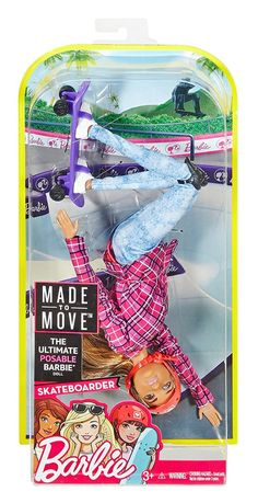 2017 News about the Barbie Dolls! : barbie-made-to-move-skateboarder-nrfb Mattel Barbie, New Barbie Dolls, Barbie Sets, Barbie Doll House, Barbie Dream House, Barbie Stuff, Baby Girl Toys, Toys For Girls, Barbie Playsets
