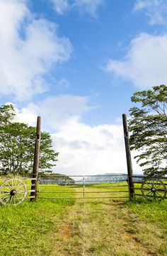 Front entrance gates to a countryside ranch in Kauai Hawaii