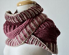 Switchback Cowl pattern by Nick Davis | malabrigo Worsted in Simple Taupe, Red Mahogany and Damask