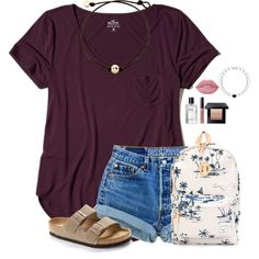 A fashion look from March 2017 featuring Hollister Co. t-shirts, Birkenstock sandals and Herschel Supply Co. backpacks. Browse and shop related looks.