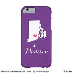 Rhode Island Heart Purple Custom Monogram Barely There iPhone 6 Case