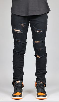 FIT : SLIM TAPERED LEG If you are looking for a looser fit we suggest one size up - Stretch denim for increased wearability - Destroyed details and ripped knee YKK Zipper on side ankles - Five pocket