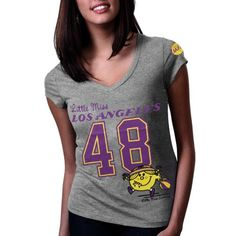 NBA Los Angeles Lakers Ladies Little Miss NBA V-Neck T-Shirt - Ash (Small) - http://weheartlakers.com/lakers-store/nba-los-angeles-lakers-ladies-little-miss-nba-v-neck-t-shirt-ash-small
