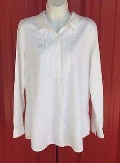 J-Jill-Medium-White-Shirt-Long-Sleeve-Button-Up-Cotton-Blouse-Top-Pintuck