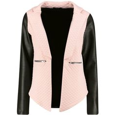 Boohoo Lily Leather Look Sleeve Quilted Blazer   Boohoo (32 NZD) ❤ liked on Polyvore featuring outerwear, jackets, blazers, faux leather jacket, faux leather blazer, pink blazer jacket, fake leather jacket and synthetic leather jacket