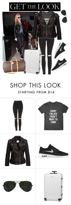 """""""Untitled #266"""" by ashstylist101 on Polyvore featuring Topshop, Anine Bing, NIKE, Ray-Ban, Rimowa, Louis Vuitton, GetTheLook and airportstyle"""