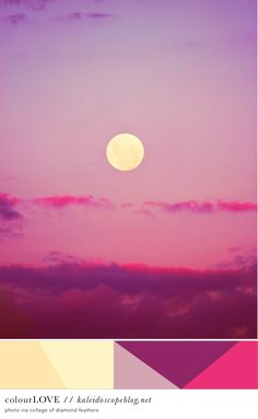 Colour Love // 58 - color, pink, yellow, purple, mauve, hot pink, bright pink, lemon, custard, sky, moon, clouds, sunset, beautiful, palette - Kaleidoscope Blog