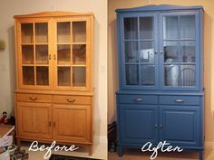 Painted my hutch blue. Before and after