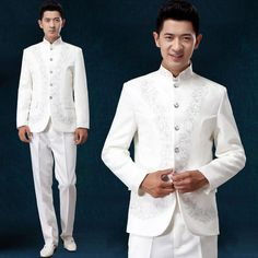 2017 new arrival chinese tunic suit men suit set with pants mens suits wedding groom formal dress suit stage stand collar white Marie Antoine, Mens Tunic, Singer Costumes, Style Chinois, Formal Dresses For Men, Smoking, Wedding Suits, Wedding Groom, Barong Wedding