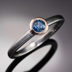 Mixed Metal Blue Round Montana Sapphire Engagement Ring, size 5 to 8