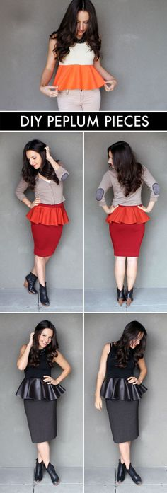 Turn any shirt or skirt into a peplum piece. Click through for the how-to.