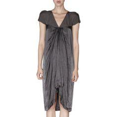 RICK OWENS  Cap Sleeve Drape Front Dress