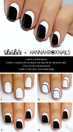 Nail Tutorial. Log in to Pampadour.com for more easy nail art tutorials! #howto #tutorial #manimonday #manicuremonday #nails #nailpolish #nailart #polish #naildesign #black #white #beauty