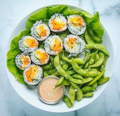 Lunch Recipes, Whole Food Recipes, Vegan Recipes, Edamame, Mango Sushi, Peanut Dipping Sauces, Peanut Sauce, Peanut Butter, Clean Eating