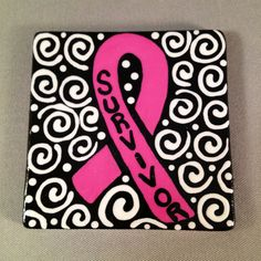 Breast Cancer Awareness Square Magnet by chutneyblakedesigns, $7.95