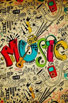 This music mural has a cool graffiti style that will let any kid or teenager express their own style, whether they like rock, punk, jazz or the blues. Kinds Of Music, Music Is Life, My Music, Music And Art, Music Lyrics Art, Kids Music, Music Radio, Jazz Music, Musik Wallpaper