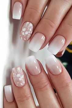 wedding nails trends ombre white nude with white flowers galichaiaolga Square Acrylic Nails, White Acrylic Nails, Best Acrylic Nails, Summer Acrylic Nails, Summer Nails, Blue Nail, Pink Nails, Gel Nails, Coffin Nails