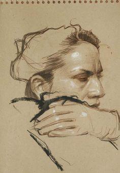 Study Laurence 2, pastel Gras et Fusain sur Papier, 29x39 cm, 2012  Craig Hanna