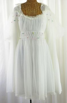 Vintage 50s Bridal White Innocence Double by Voilavintagelingerie, $225.00
