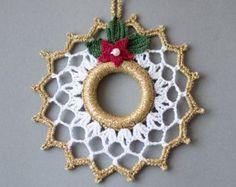 Decoración de Navidad de la guirnalda de Navidad oro blanco decoración Crochet navidad ornamento corona hecha a mano árbol juguetes invierno decoración de la boda de ganchillo