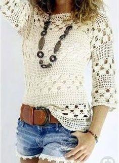 Blusa blanca tejida a crochet blusas Blusa blanca tejida a crochet - Patrones gratis T-shirt Au Crochet, Cardigan Au Crochet, Pull Crochet, Mode Crochet, Crochet Shirt, Crochet Woman, Crochet Tops, Crochet Gratis, Crochet Summer