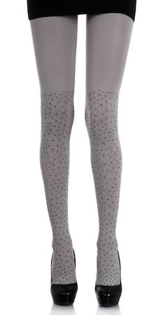 Wearing a cute pair of fashion print designer tights is an inexpensive and easy way to make a boring outfit instantly look incredibly trendy and fashionable. these 120 denier print tights will be flattering and slimming for your legs. The simple yet eye-catching matrix Black print on both legs of these Light Grey fashion tights is sure to catch attention. $28.95