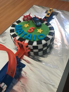 Hot wheels cake - the second of a pair of cakes joined with a loop the loop.