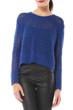 Open-knit panels add rich texture to a slouchy. Wide-ribbed banding trims the edges, and an exposed zip closes the back.    Perfect for fall with a bright lip color!   Zip Back Sweater by Cynthia Vincent. Clothing - Sweaters - Crew & Scoop Neck Clothing - Tops - Long Sleeve San Diego