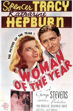 One-Sheet poster featuring Spencer Tracy as Sam Craig, and Katharine Hepburn as Tess Harding, Woman of the Year, 1942