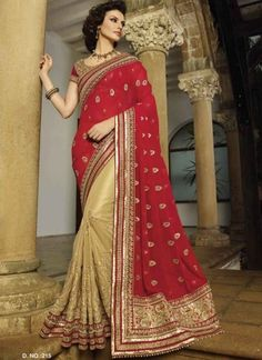 Hot Red and Cream Embroidery work half n half saree