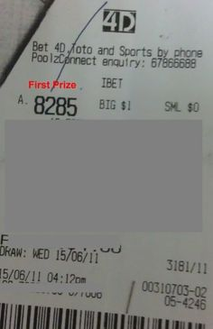 15 June 11 Draw Win $4089 – Hit First Prize (Direct, Ibet), Consolation Prize (Ibet) B