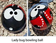 Bowling ball.  Lady bug bowling ball garden art - image only
