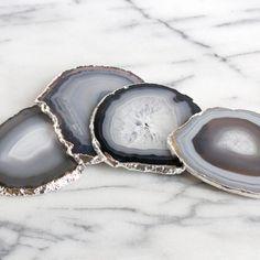 black agate coasters / silver agate coasters / by DANIBARBEshop