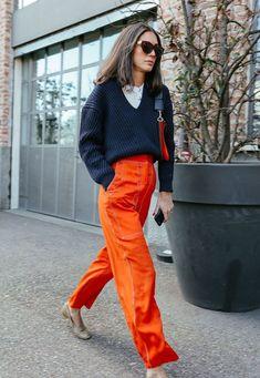 Diletta Bonaiuti - calça e tricot - living coral - meia-estação - street style