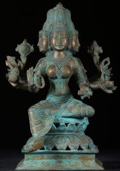 "Maha Saraswati Bronze Statue with 5 heads and 10 Arms 16"""