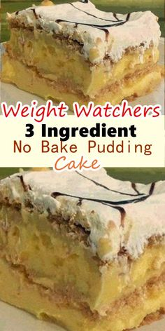 Easy 3 Ingredient No Bake Pudding Cake Tasty Food is part of Weight watchers recipes desserts Easy 3 Ingredient No Bake Pudding Cake Happy Cooking , In the food recipe that you read this time wit - Weight Watcher Dinners, Plats Weight Watchers, Weight Watchers Diet, Weight Watchers Puddings, Dessert Weight Watchers, Weight Watchers Cheesecake, Weight Watchers Casserole, Ww Desserts, Healthy Desserts