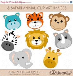SALE  25OFF  8 Safari Animals Clip Art by TheDreameryDesigns, $2.99