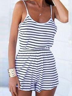 e93ce824bd0c Classic White Stripes Elastic Waist Strap Jumpsuit Casual Jumpsuit
