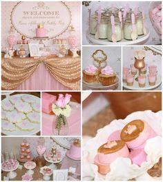 Pink and Gold Princess Party So Many Really Cute Ideas via Kara's Party Ideas KarasPartyIdeas.com #RoyalPrincess #Party #Ideas #Supplies #pinkandgold #cake #ruffle #ombre