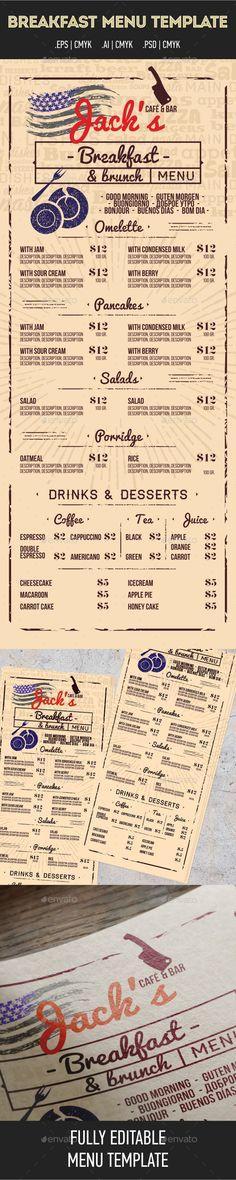 Jacks Cafe&Bar_Breakfast Menu Template PSD #design Download: http://graphicriver.net/item/jacks-cafebar_breakfast-menu/13306972?ref=ksioks