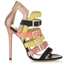 Booster Coral Yellow and Black Printed Leather Sandals By Jimmy Choo