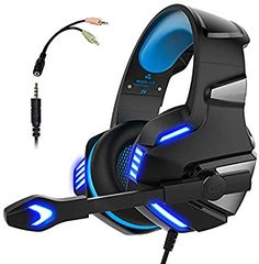 WINTORY Gaming Headset Headphone with Microphone Noise Canceling via the Ear LED Light Bass Stereo Sound Compatible for Xbox One PC, Laptop, Tablet (Blue) - Gaming Headphones, Headphones With Microphone, Headphone With Mic, Gaming Headset, Ear Headphones, Ps4 Or Xbox One, Xbox One Controller, Xbox 360, Nintendo 3ds