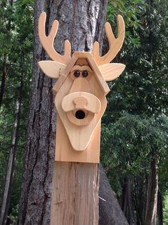 Handmade Unique Wood Deer Birdhouse by DJsHomespunHeart on Etsy