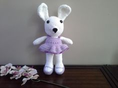 Crochet Easter Bunny, Crochet Bunny, Crochet Toy, Stuffed Animal, Stuffed Toy, Bunny, Purple and White Crochet Bunny by TutuCute4Words1 on Etsy https://www.etsy.com/listing/270547467/crochet-easter-bunny-crochet-bunny