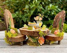 Miniature fairy table table, fairy dollhouse furniture, fairy garden miniatures - Source by morningbrightly -