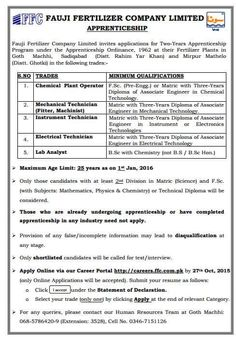Share this to Share on FacebookShare on TwitterShare on Google+Share on LinkedinShare on Pinterest APPRENTICESHIP IN FUJI FERTILIZERS COMPANY(FFC) Announced different posts in Published in:The NAWAIWAQT  Newspaper Pakistan Dated in :27 SEP-2015 SUNDAY To see CLEAR image CLICK on image below SAMPLLE PAPERS FOR APPRENTICE TEST LATEST JOBS IN Mechanical Engineering Electronics Engineering Electrical Engineering …
