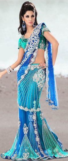 Blue and green lehenga sari Lehenga Style Saree, Saree Dress, Net Lehenga, Green Lehenga, Blue Saree, Pakistan Fashion, India Fashion, Indian Dresses, Indian Outfits