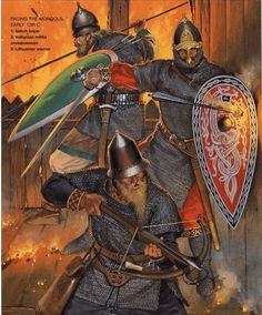 Angus McBride - Guerreros rusos, siglo XIII.