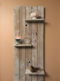 Re-purposed fence into decorative shelf