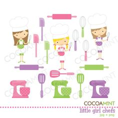 Little Girl Chefs Clip Art by cocoamint on Etsy